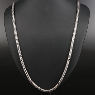 Sterling Round Espiga Chain Necklace