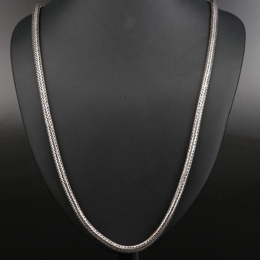 Sterling Round Espiga Chain Necklace