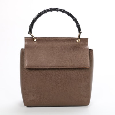 Gucci Bamboo Top Handle Bag in Metallic Leather