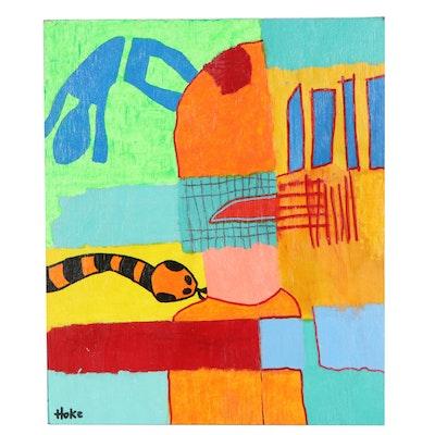"""Bob Hoke Outsider Acrylic Painting """"Snake Kiss"""", 2020"""