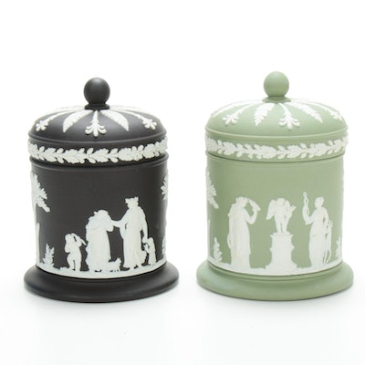 Pair of Wedgwood Cream on Black and Green Jasperware Jars