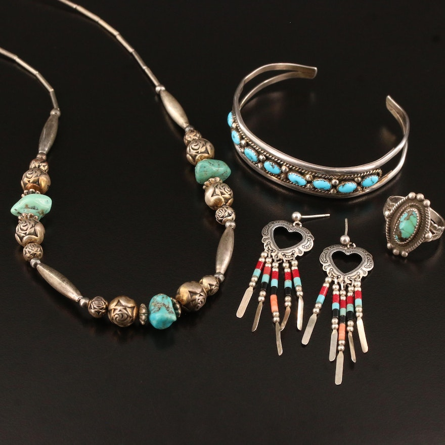 Western Style Sterling Silver Jewelry Including Quoc Turquoise Inc. Earrings