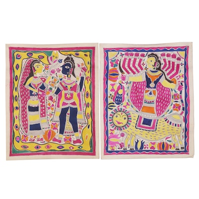 Bharni Folk Style Watercolor Madhubani Paintings