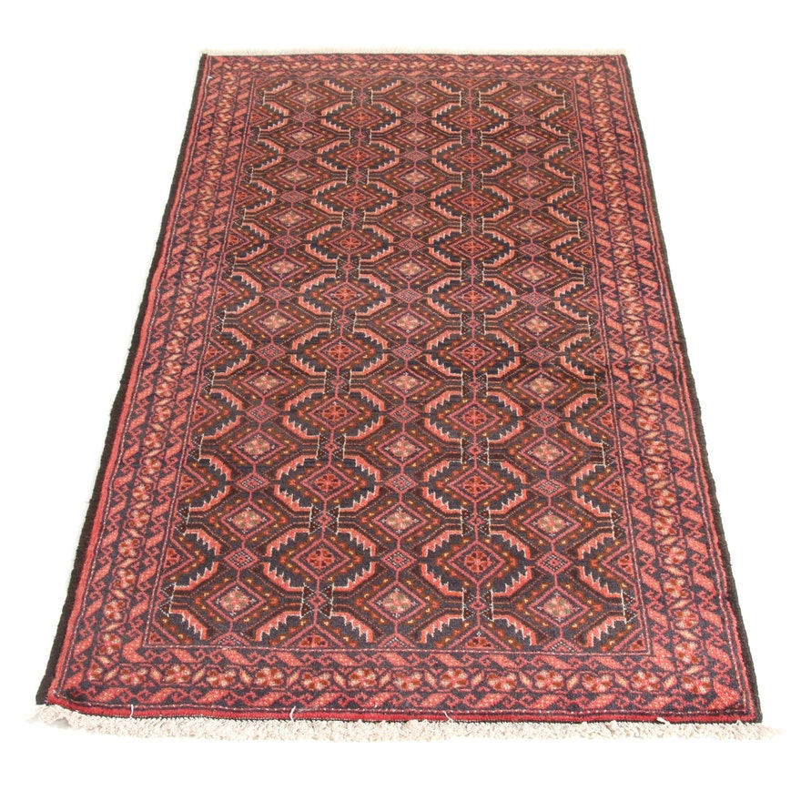 3' x 5'7 Hand-Knotted Persian Balouch Rug, 1960s