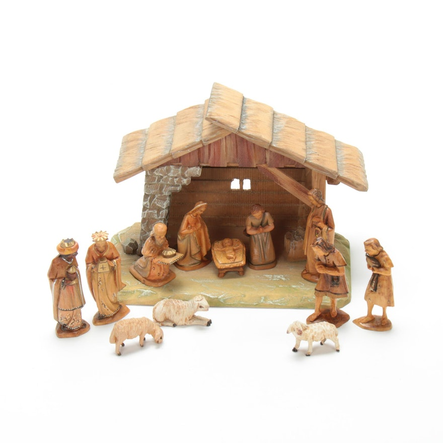Carved Polychrome Wooden Nativity Set, Mid to Late 20th Century