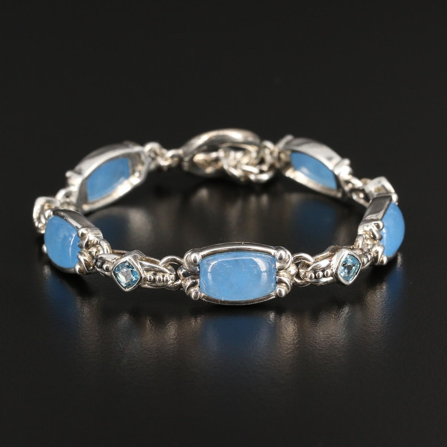 Sterling Silver Jadeite and Topaz Bracelet