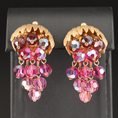 Aurora Borealis Clip-On Pomegranate Earrings