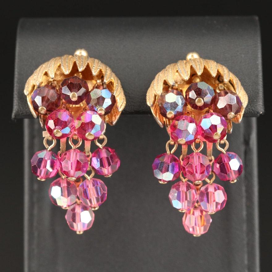 Aurora Borealis Clip-On Pomegranate Earrings