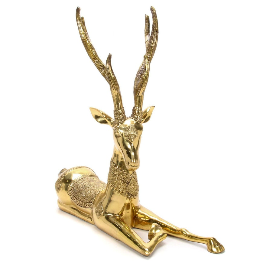 Thai-Inspired Brass Deer Figurine