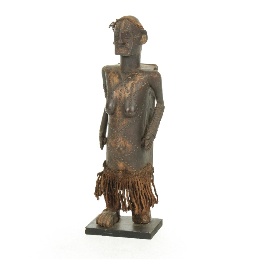 Nkundu-Ngata Style Embellished Carved Wood Reliquary Figure, Central Africa
