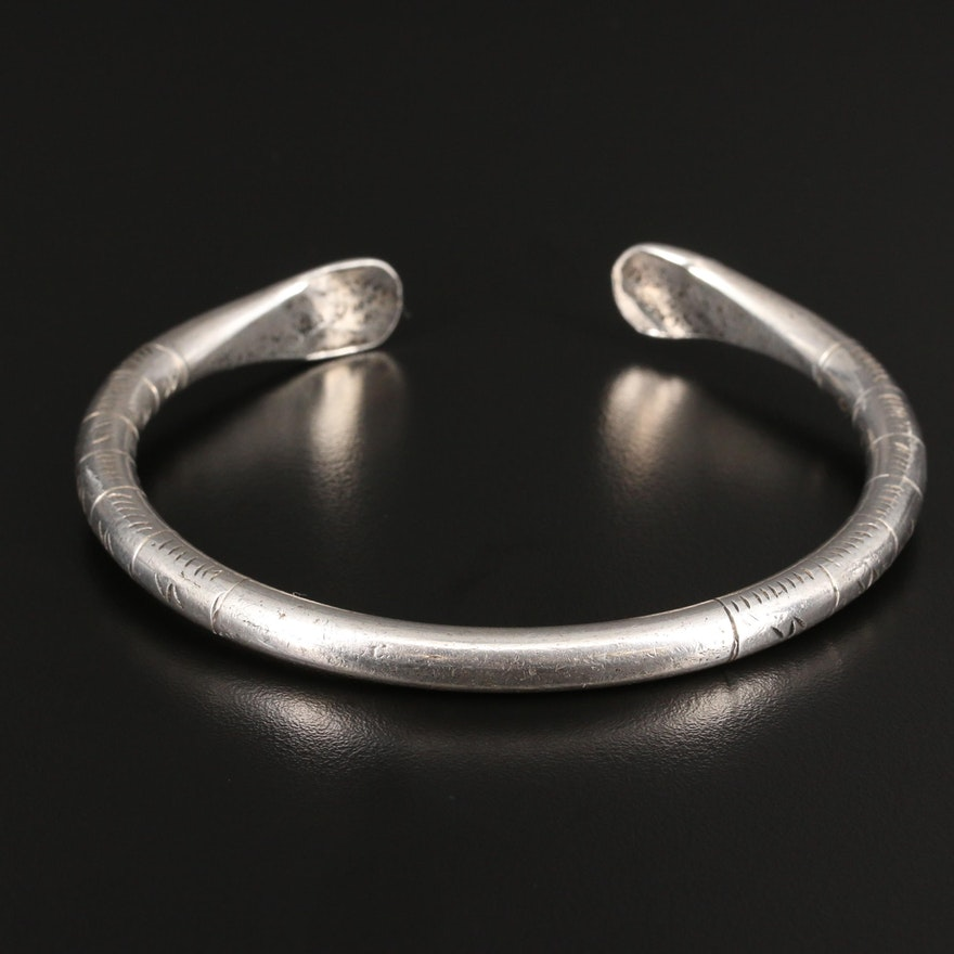 M.A. Hassan Sterling Silver Cuff with Stamped Incised Pattern