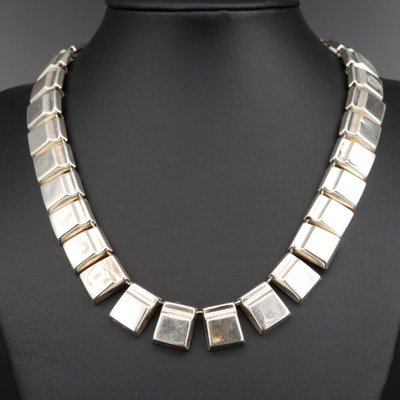 Sterling Square Panel Necklace
