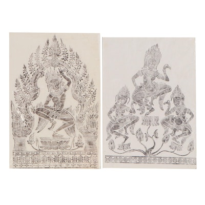 Khmer Dancing Apsara Brass Relief Rubbings, 20th Century