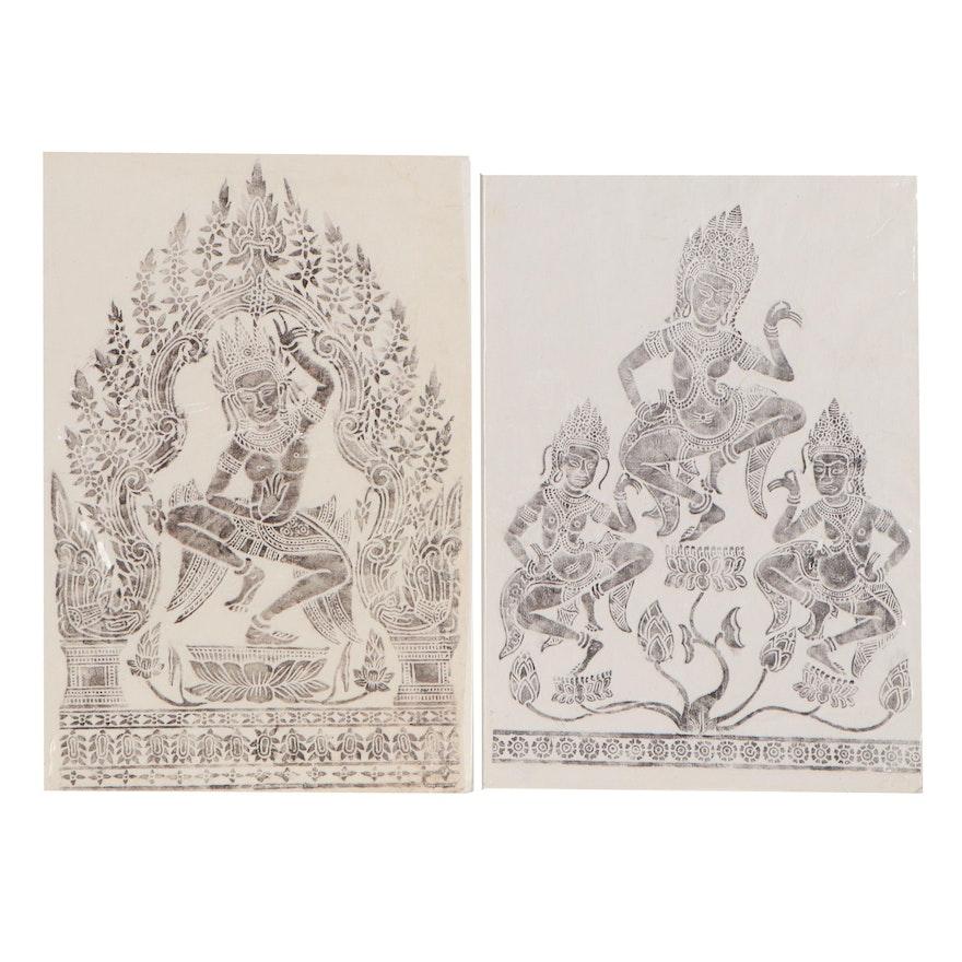 Khmer Dancing Apsara Brass Relief Rubbings, 20th Century