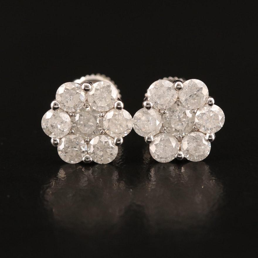14K 2.03 CTW Diamond Cluster Earrings