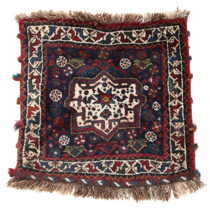 2'5 x 2'3 Hand-Knotted Persian Qashqai Shiraz Rug, 1950s