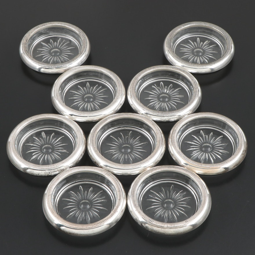 Crown Sterling Silver and Glass Coasters