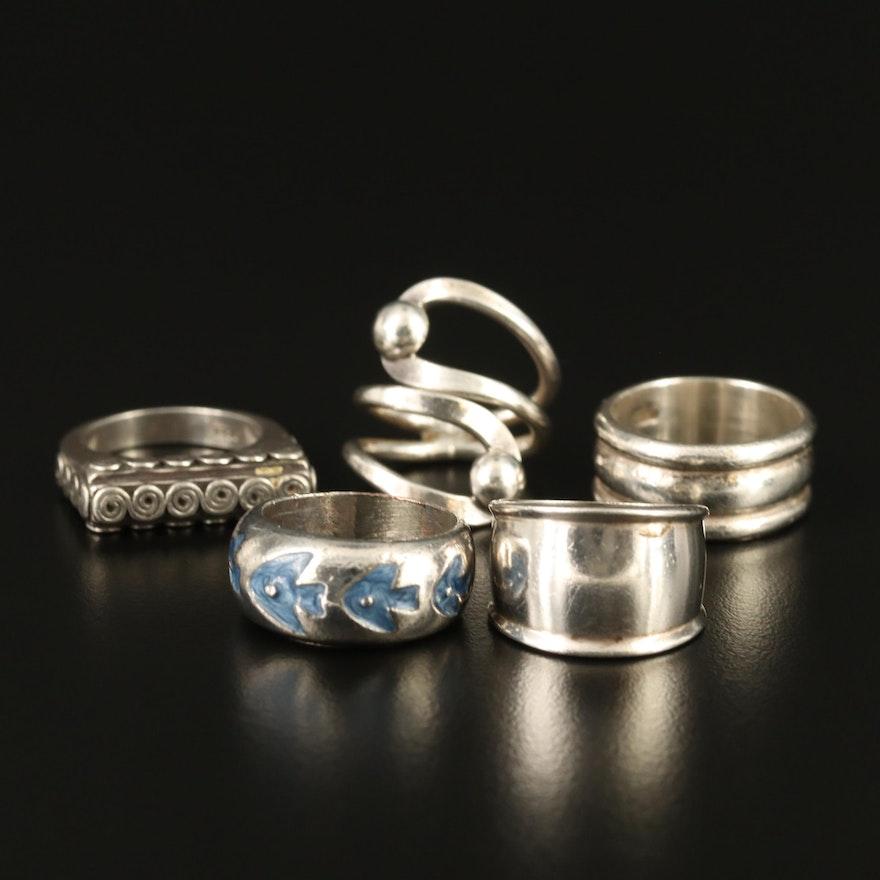 Sterling Rings and Enamel Fish Motif Band