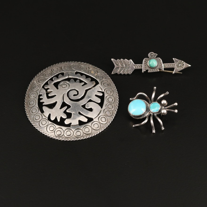 Sterling Silver Turquoise Brooches Featuring Insect Motif and Arrow