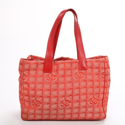 Chanel Travel Line Tote in Red Jacquard and Leather