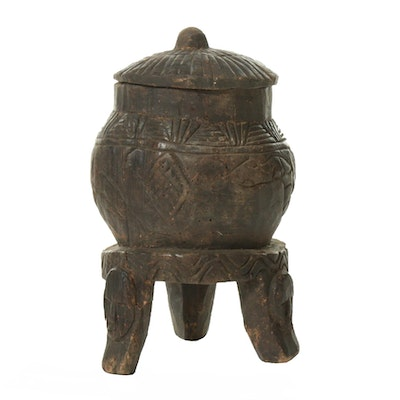 Central African Hand-Carved Wooden Container
