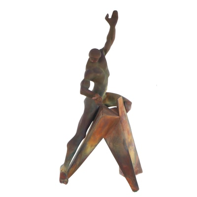 "George Tudzarov ""Zaro"" Raku Fired Figural Stoneware Sculpture, 1995"