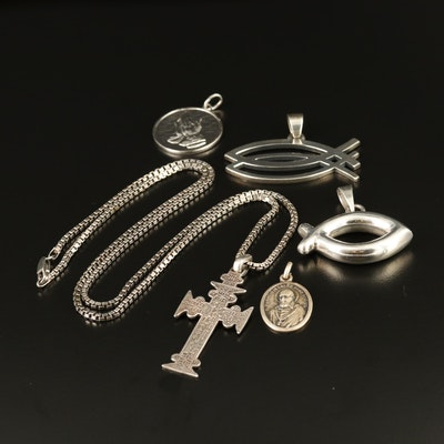 800 Silver Cross and Sterling Silver Religious Pendants and Chain Necklace