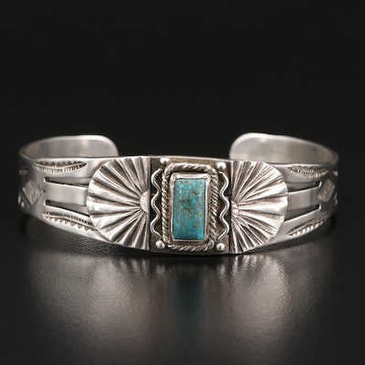 Western Style Sterling Turquoise Stampwork Cuff