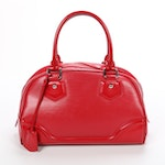 Louis Vuitton Bowling Montaigne MM in Red Epi and Smooth Leather