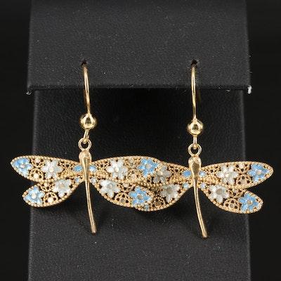 Sterling Enamel Dragonfly Dangle Earrings