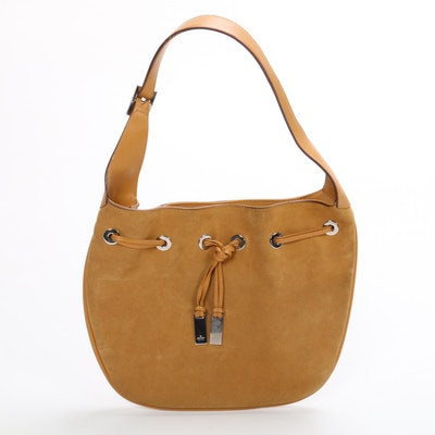 Gucci Drawstring Shoulder Bag in Suede and Leather