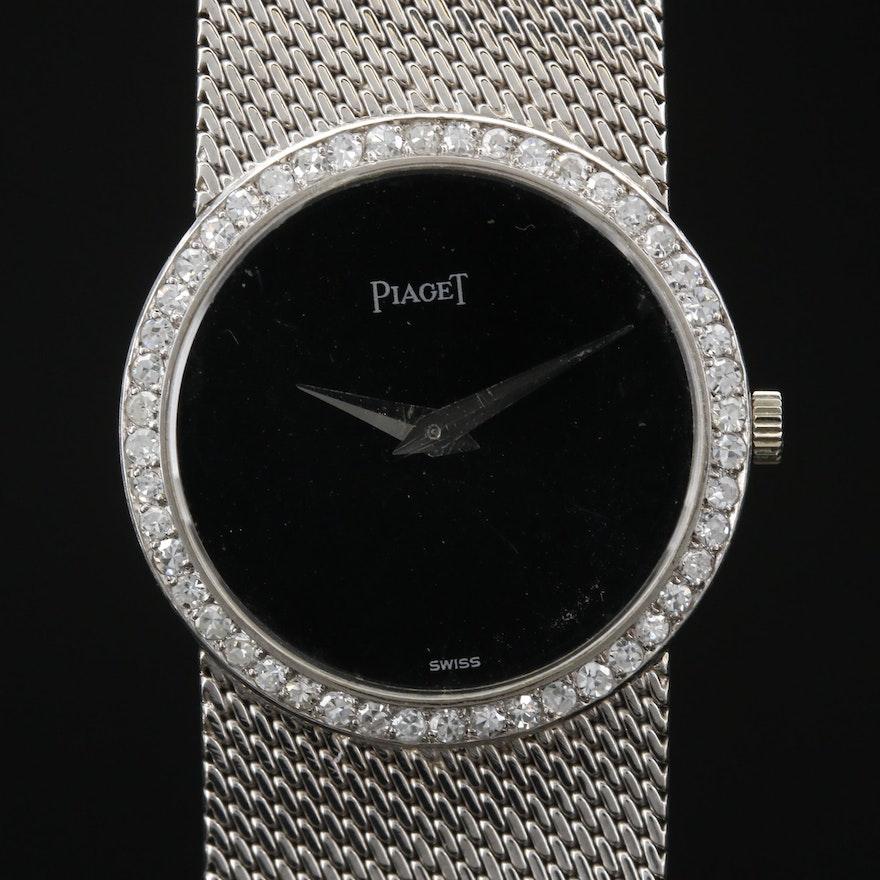 18K and Diamonds Piaget Stem Wind Wristwatch