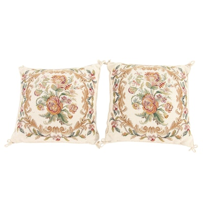 Handwoven French Needle Point Floral Pillows, 1980s