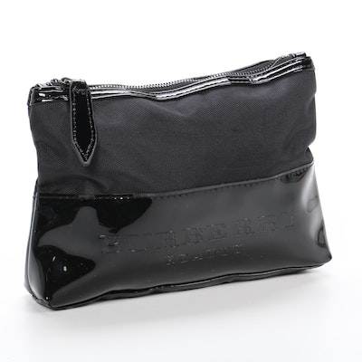 Burberry Beauty Cosmetics Bag in Black Nylon and Patent Leather