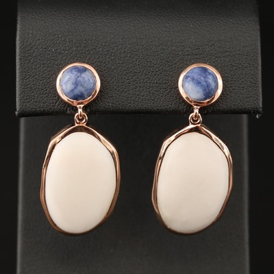 Sterling Common Opal and Sodalite Dangle Earrings