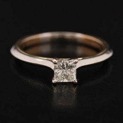 14K 0.45 CT Princess Cut Diamond Solitaire Ring