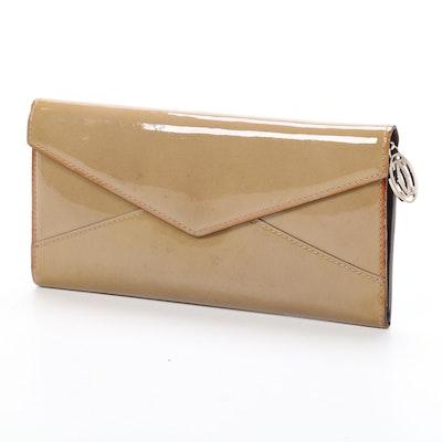 Cartier Envelope Wallet in Khaki Patent Leather
