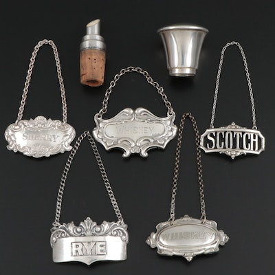 Sterling Silver and Silver Plate Decanter Tags and Wine Pourer with Lid