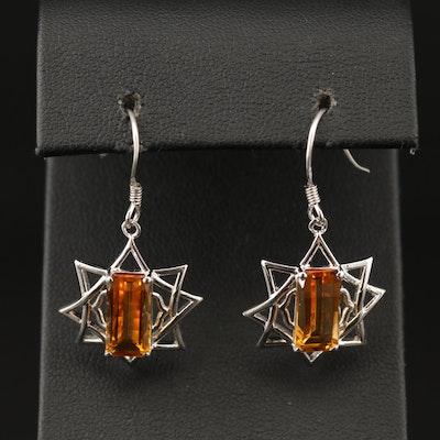 Sterling Citrine Star Dangle Earrings