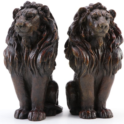 Pair of Sitting Lions Statuettes, Contemporary
