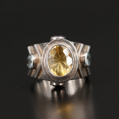 Sterling Ring with Citrine, Topaz and Amethyst