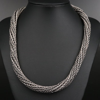 Sterling Silver Woven Chain Necklace