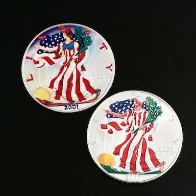 Colorized $1 American Silver Eagle Bullion Coins, 2000 and 2001
