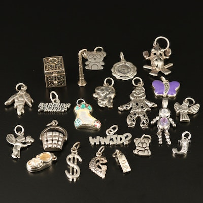 Assortment of Sterling Silver Charms with Mother of Pearl and Enamel