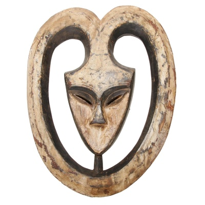 Kwele Carved Wood Mask, Africa
