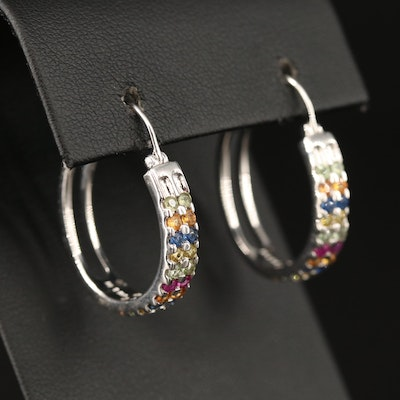 Sterling Sapphire Hoop Earrings