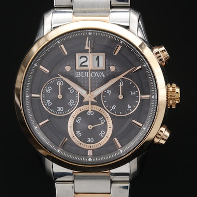 Bulova Chronograph with Split Date Stainless Steel Quartz Wristwatch
