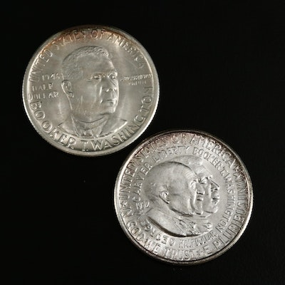 Booker T Washington and Washington Carver Commemorative Silver Half Dollars