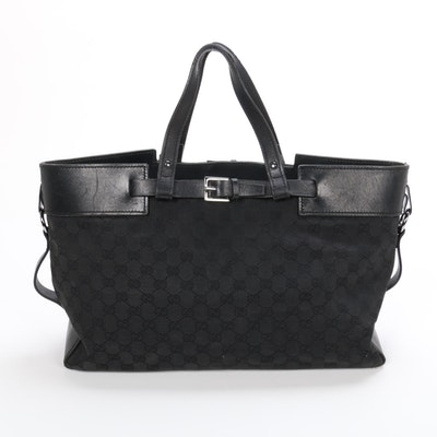 Gucci Two-Way Tote Bag in Black GG Canvas and Leather