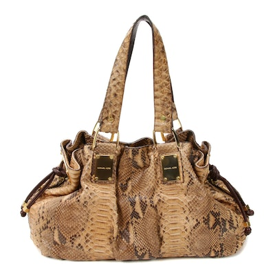 Michael Kors Rehearsal Satchel in Python Skin and Leather